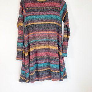 Elan Dresses - Elan Horizontal Striped Swing Sweater Dress M